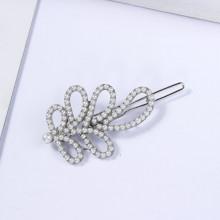 1D0004-5 Заколка Папоротник, цвет серебряный, 30х60мм