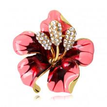1B0041-1 Брошь Цветок, цвет красный
