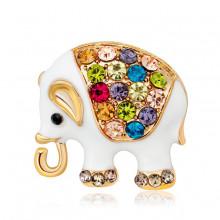 1B0056 Брошь Слон, цвет белый