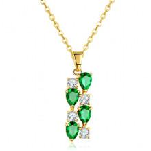 1F0001-2 Кулон с позолотой на цепочке, цвет зелёный, 11мм