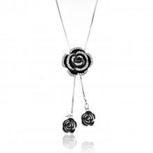 1F0024-2 Кулон Роза на цепочке, цвет серебро