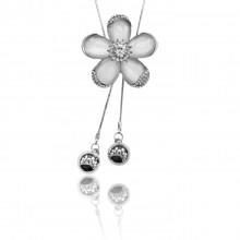 1F0030 Кулон Цветок на цепочке, цвет серебро