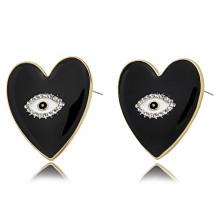 1G0035-1 Серьги Сердце с эмалью, 25х20х15мм, цвет чёрный