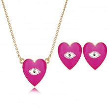 1I0001-2 Набор из кулона и серёг Сердце с эмалью, цвет малиновый