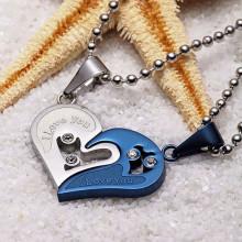AC037 Парные кулоны Сердце с цепочками 3см