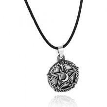 AC097-2 Амулет Лунная пентаграмма, d.2,5см, цвет серебряный