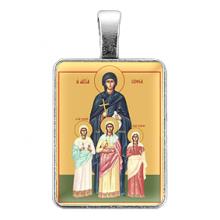 ALE311 Нательная иконка Святые мученицы Вера, Надежда, Любовь и матерь их София