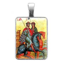 ALE320 Нательная иконка Святые князья Борис и Глеб