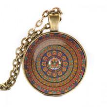 ALK028 Кулон с цепочкой Тара мандала, цвет бронз.