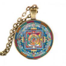 ALK032 Кулон с цепочкой Будда Шакьямуни мандала, цвет бронз.