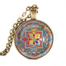 ALK037 Кулон с цепочкой Хеваджра мандала, цвет бронз.