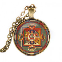 ALK039 Кулон с цепочкой Авалокитешвара мандала, цвет бронз.