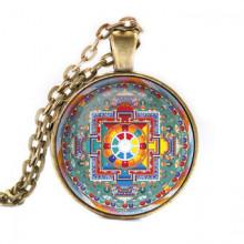 ALK048 Кулон с цепочкой Намгьялма мандала, цвет бронз.