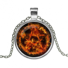 ALK163 Кулон с цепочкой Огненная пентаграмма