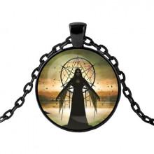 ALK415 Чёрный кулон с цепочкой Ведьма