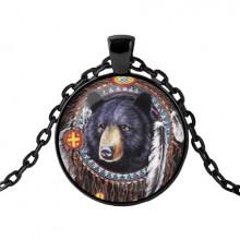 ALK421 Чёрный кулон с цепочкой Медведь ловец снов