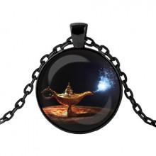 ALK433 Чёрный кулон с цепочкой Лампа Аладдина (исполнение желаний)