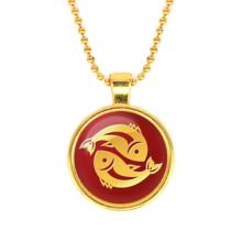ALK536 Кулон с цепочкой Знаки Зодиака - Рыбы, цвет золот.