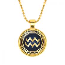 ALK547 Кулон с цепочкой Знаки Зодиака - Водолей, цвет золот.