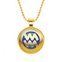 ALK559 Кулон с цепочкой Знаки Зодиака - Водолей, цвет золот.