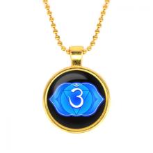 ALK566 Кулон с цепочкой Аджна чакра, цвет золот.