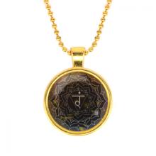 ALK570 Кулон с цепочкой Манипура чакра, цвет золот.