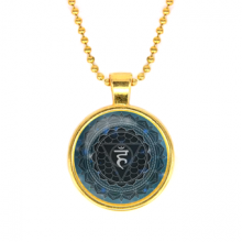 ALK572 Кулон с цепочкой Вишуддха чакра, цвет золот.