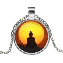 ALK615 Кулон с цепочкой Будда, цвет серебр.