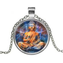 ALK627 Кулон с цепочкой Будда, цвет серебр.