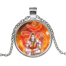 ALK629 Кулон с цепочкой Шива, Ом, цвет серебр.