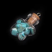 AMS005-B Кулон - флакон 2,4см с натуральным камнем Бирюза