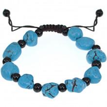 BJBS-196-1 Плетёный браслет с бирюзой, цвет голубой