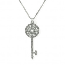 BJK061 Кулон со стразами на цепочке Ключ 65х23мм, цвет серебр.