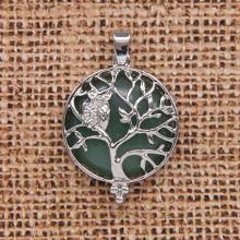 BJK083-06 Кулон Дерево d.2,7см с камнем Нефрит оптом
