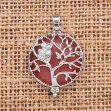 BJK083-11 Кулон Дерево d.2,7см с камнем Розовый халцедон