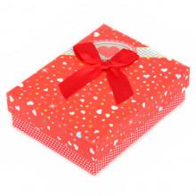BOX003-1 Коробка для бижутерии с бантом 90х70х30мм, цвет красный