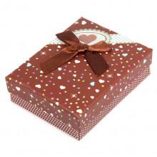 BOX003-2 Коробка для бижутерии с бантом 90х70х30мм, цвет коричневый