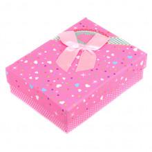 BOX003-3 Коробка для бижутерии с бантом 90х70х30мм, цвет розовый