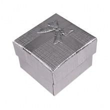 BOX018-04 Коробка для колец, 2,5х4х4см, цвет серебряный
