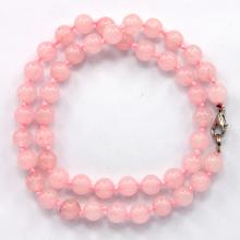 BUS003-8 Бусы розовый кварц d.8мм, L.48см