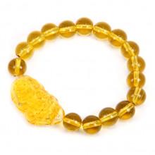BS042-02 Браслет Пи Яо, стекло 10мм, жёлтый