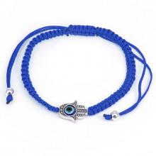 BS063-2 Плетёный браслет Хамса, цвет синий