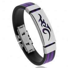 BS123-2 Силиконовый браслет с пряжкой, цвет чёрно-фиолетовый