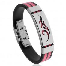 BS123-4 Силиконовый браслет с пряжкой, цвет чёрно-розовый