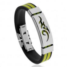 BS123-5 Силиконовый браслет с пряжкой, цвет чёрно-жёлтый