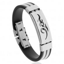 BS123-6 Силиконовый браслет с пряжкой, цвет чёрно-белый