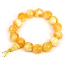 BS141-3 Буддийский браслет - чётки 13мм, акрил, цвет желтый