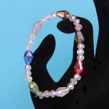BS149-3 Стеклянный браслет с гранёнными бусинами 6-8мм, разноцветный