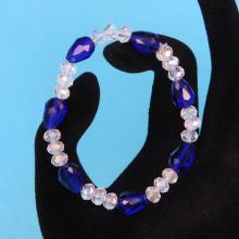 BS149-6 Стеклянный браслет с гранёнными бусинами 6-8мм, цвет синий