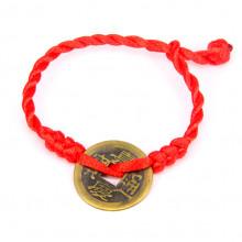 BS288 Красный браслет с монетой d.23мм